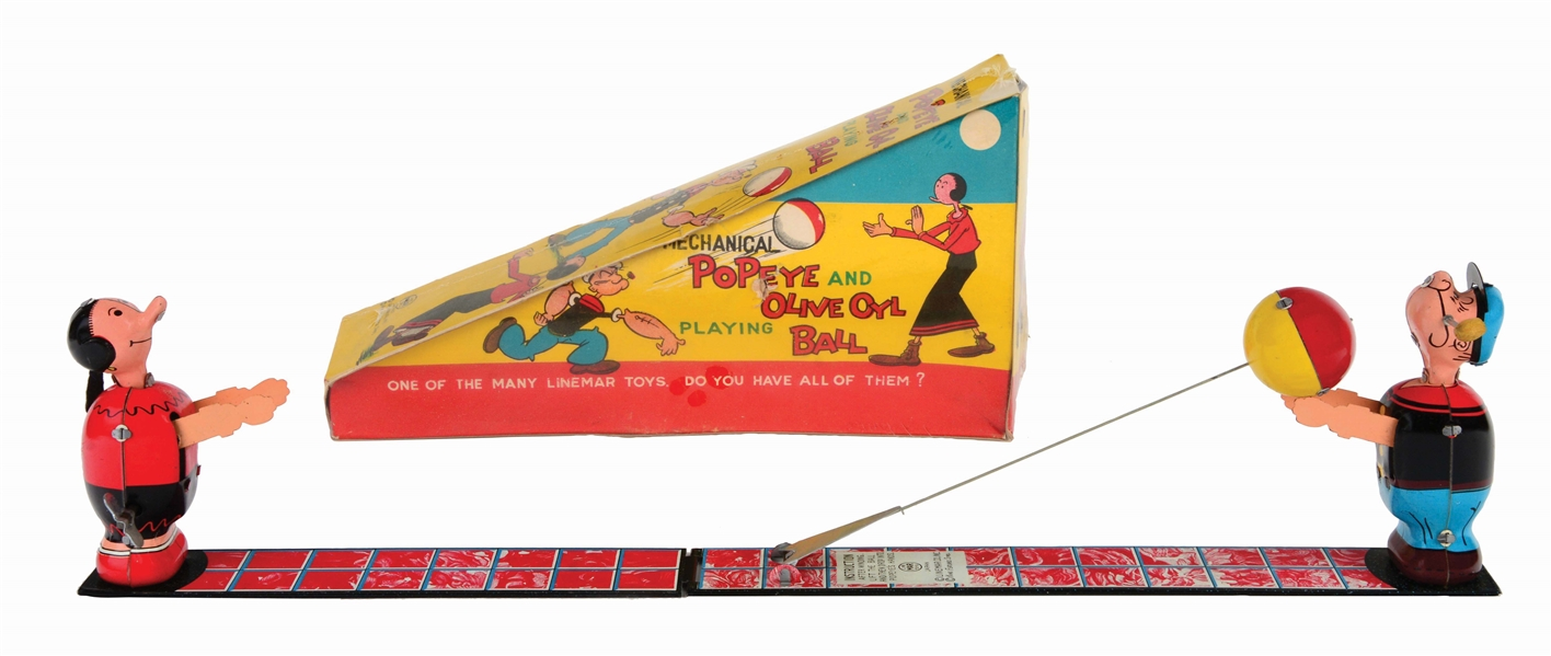 LINEMAR TIN-LITHO WIND-UP POPEYE AND OLIVE OYL BALL TOSS TOY.