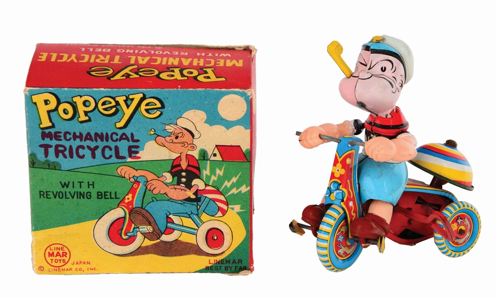 LINEMAR TIN-LITHO WIND-UP POPEYE TRICYCLE TOY.