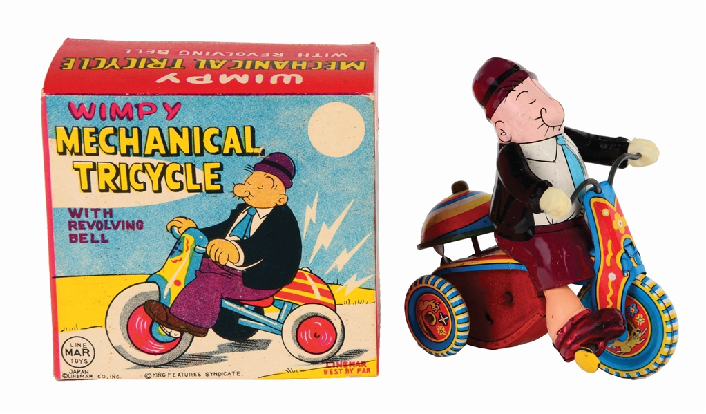 LINEMAR TIN-LITHO WIND-UP WIMPY TRICYCLE TOY.