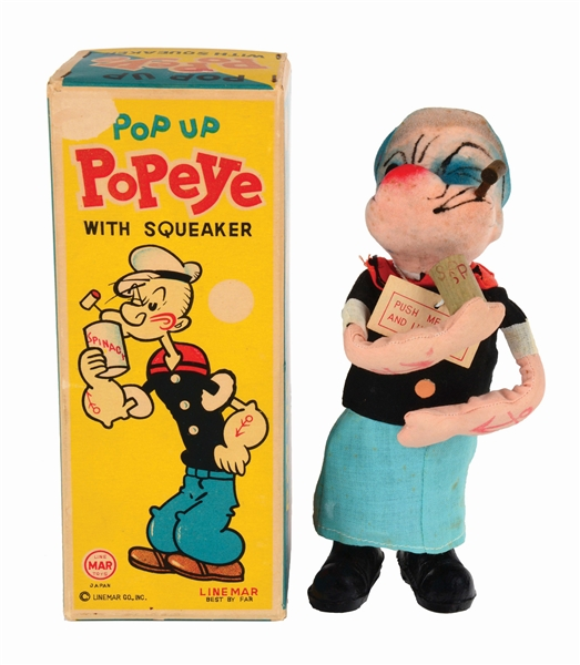 LINEMAR POP-UP POPEYE TOY WITH ORIGINAL BOX.