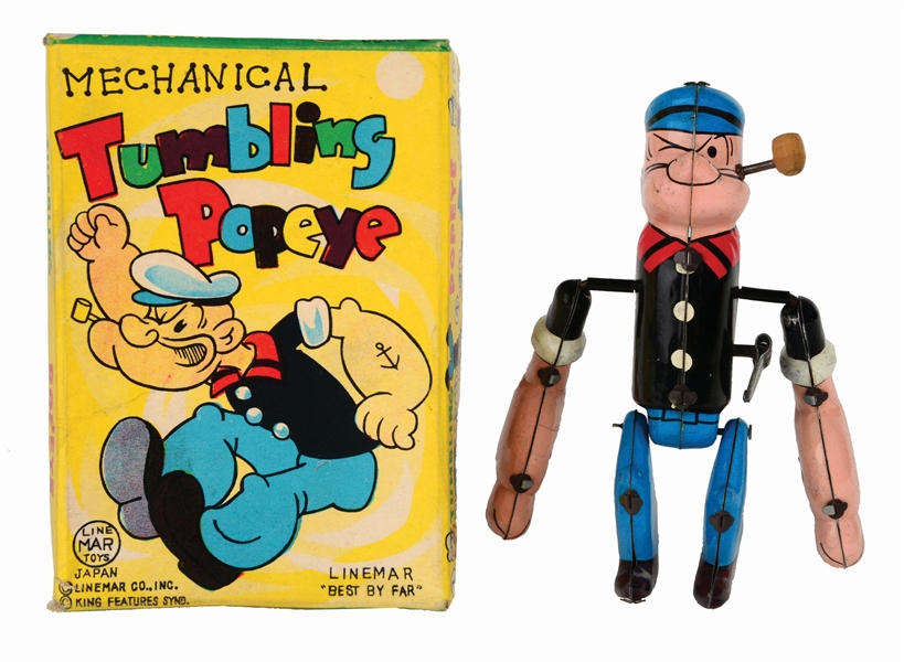 LINEMAR TIN-LITHO WIND-UP TUMBLING POPEYE TOY IN ORIGINAL BOX.