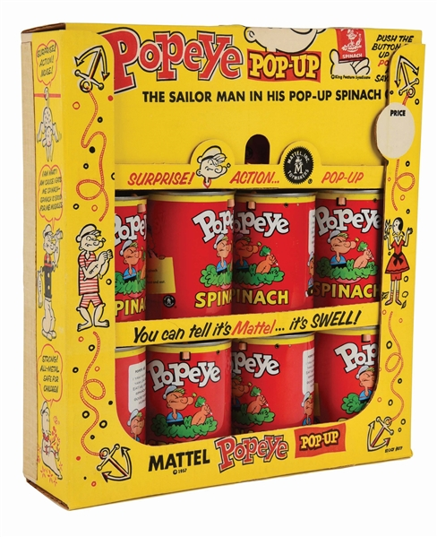 MATTEL POPEYE TIN-LITHO POP-UP SPINACH CAN STORE DISPLAY.