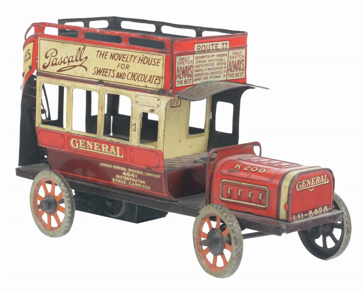 GERMAN BING TIN-LITHO WIND-UP GENERAL ADVERTISING DOUBLE-DECKER BUS.