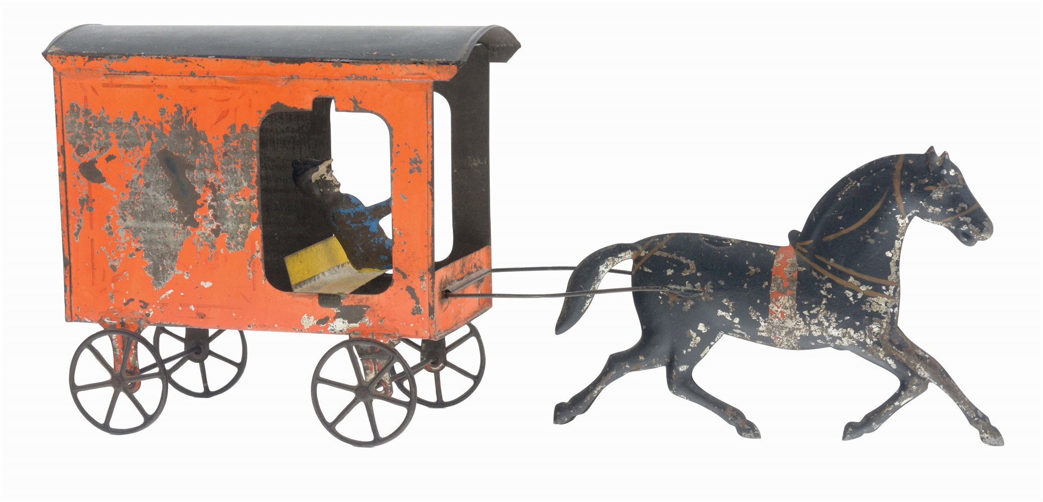 FALLOWS TIN HORSE DRAWN GROCERIES WAGON WITH DRIVER.