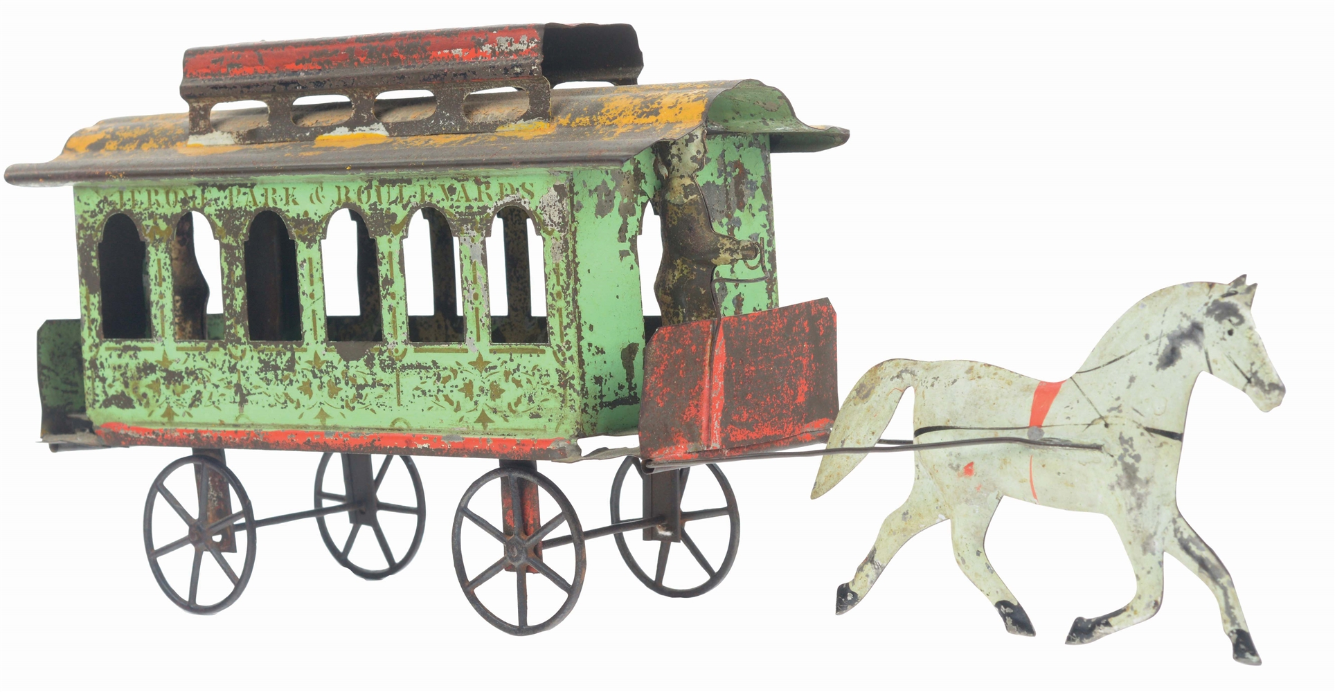 ATTRIBUTED TO GEORGE BROWN ONE HORSE DRAWN JEROME PARK TIN TROLLEY.