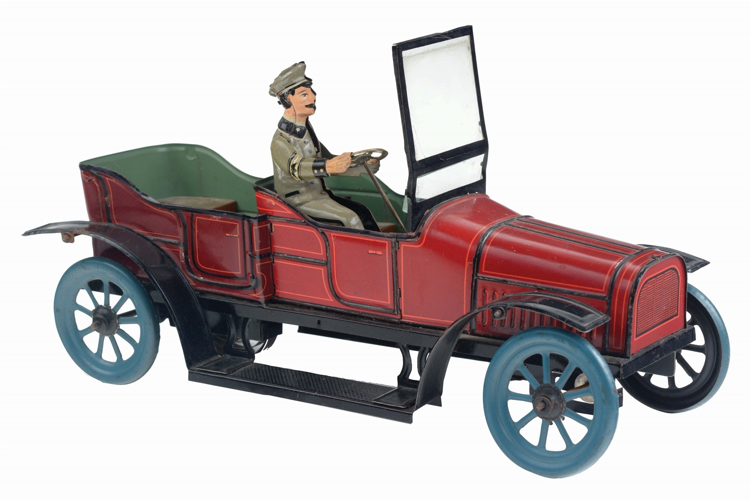 GERMAN TIN-LITHO OPEN WIND-UP LIMOUSINE TOY.
