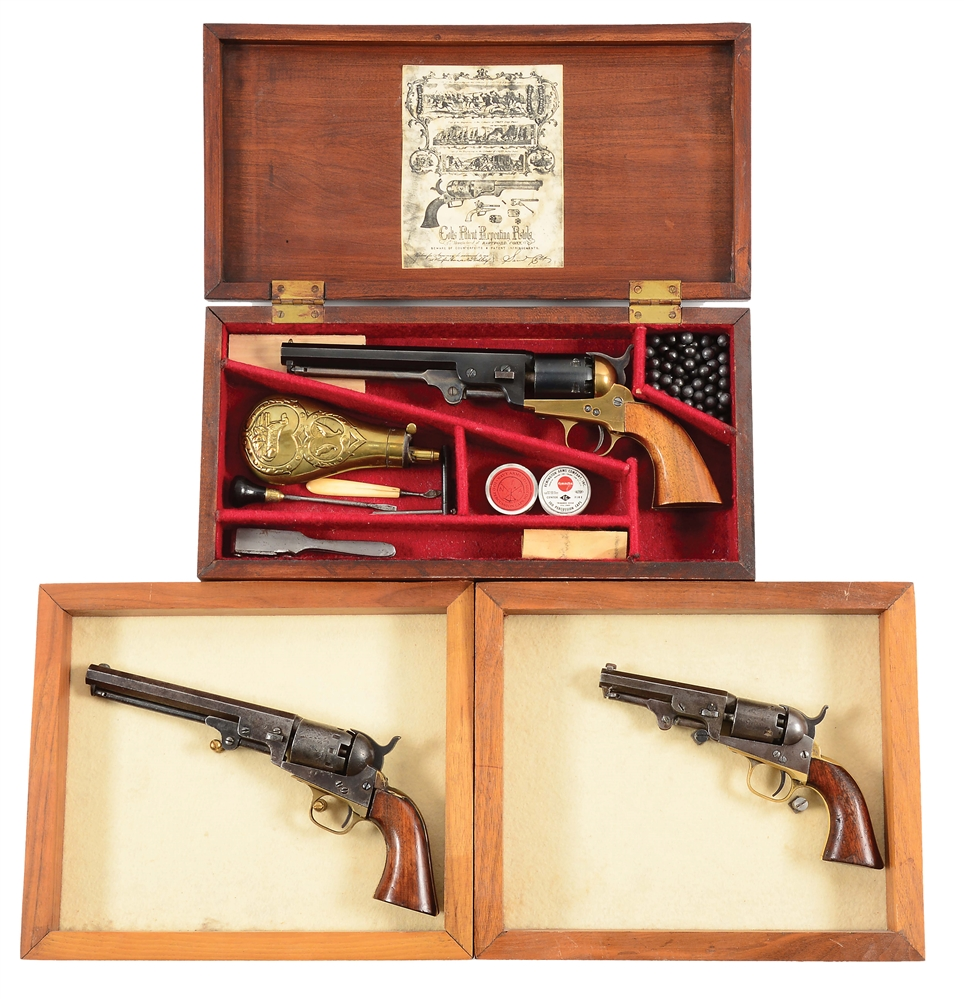 (A) LOT OF THREE: ITALIAN, COLT AND MANHATTAN PERCUSSION REVOLVERS.