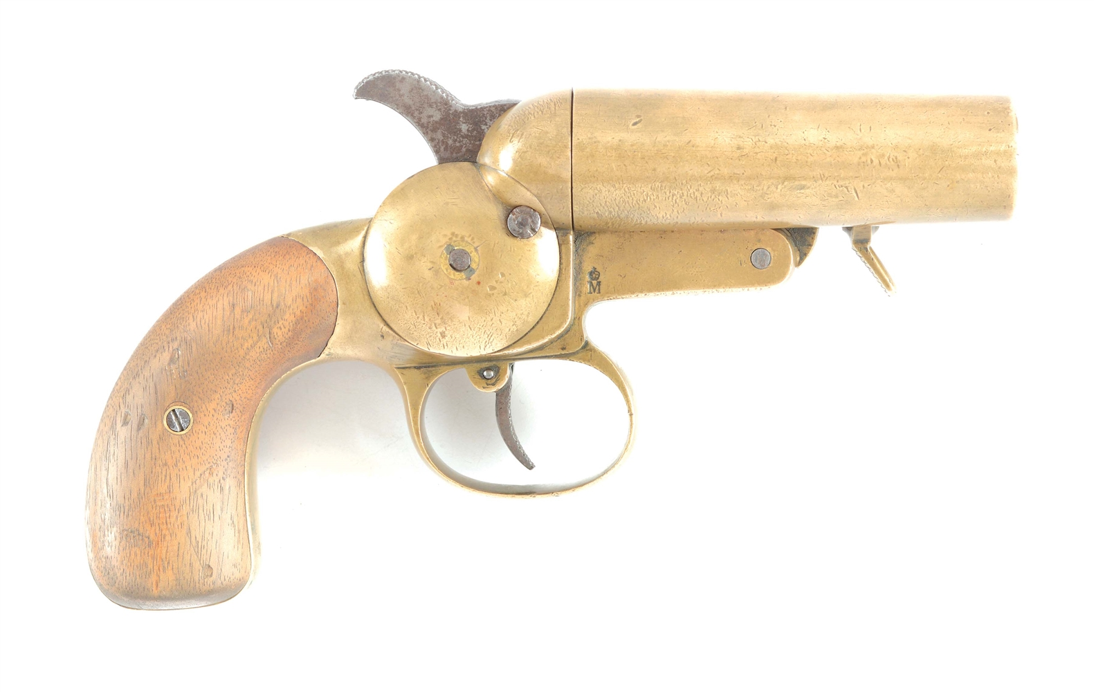 RARE WORLD WAR I IMPERIAL GERMAN KRIEGSMARINE NAVY MODEL 1899 DOUBLE BARREL BRASS FLARE PISTOL.