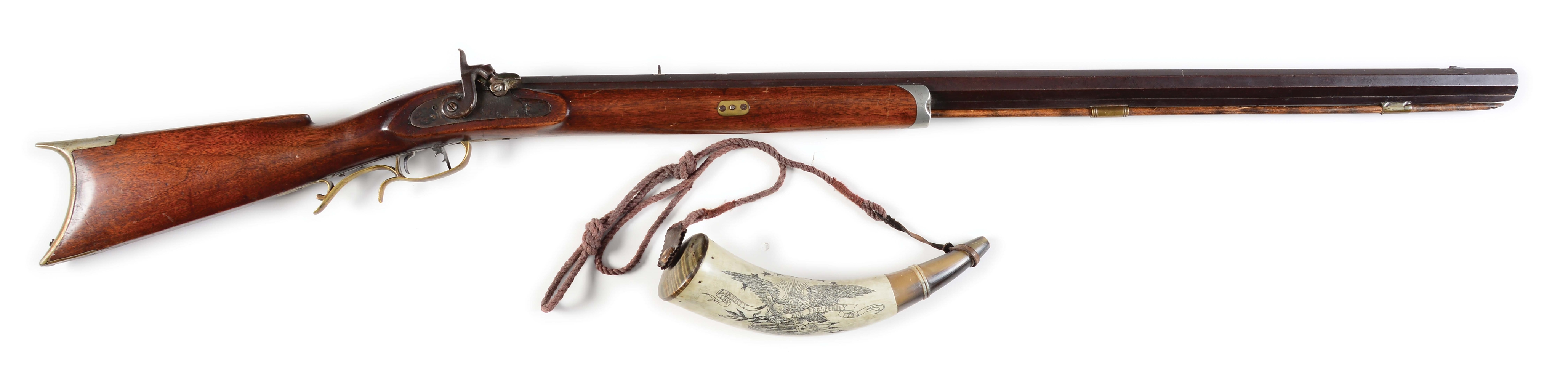 (A) S.J. HESTON .36 CALIBER PERCUSSION RIFLE AND HORN.