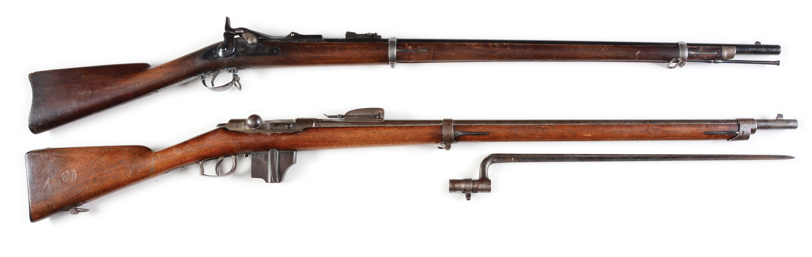 (A) LOT OF TWO: SPRINGFIELD MODEL 1873 TRAPDOOR AND DUTCH BEAUMONT RIFLES.