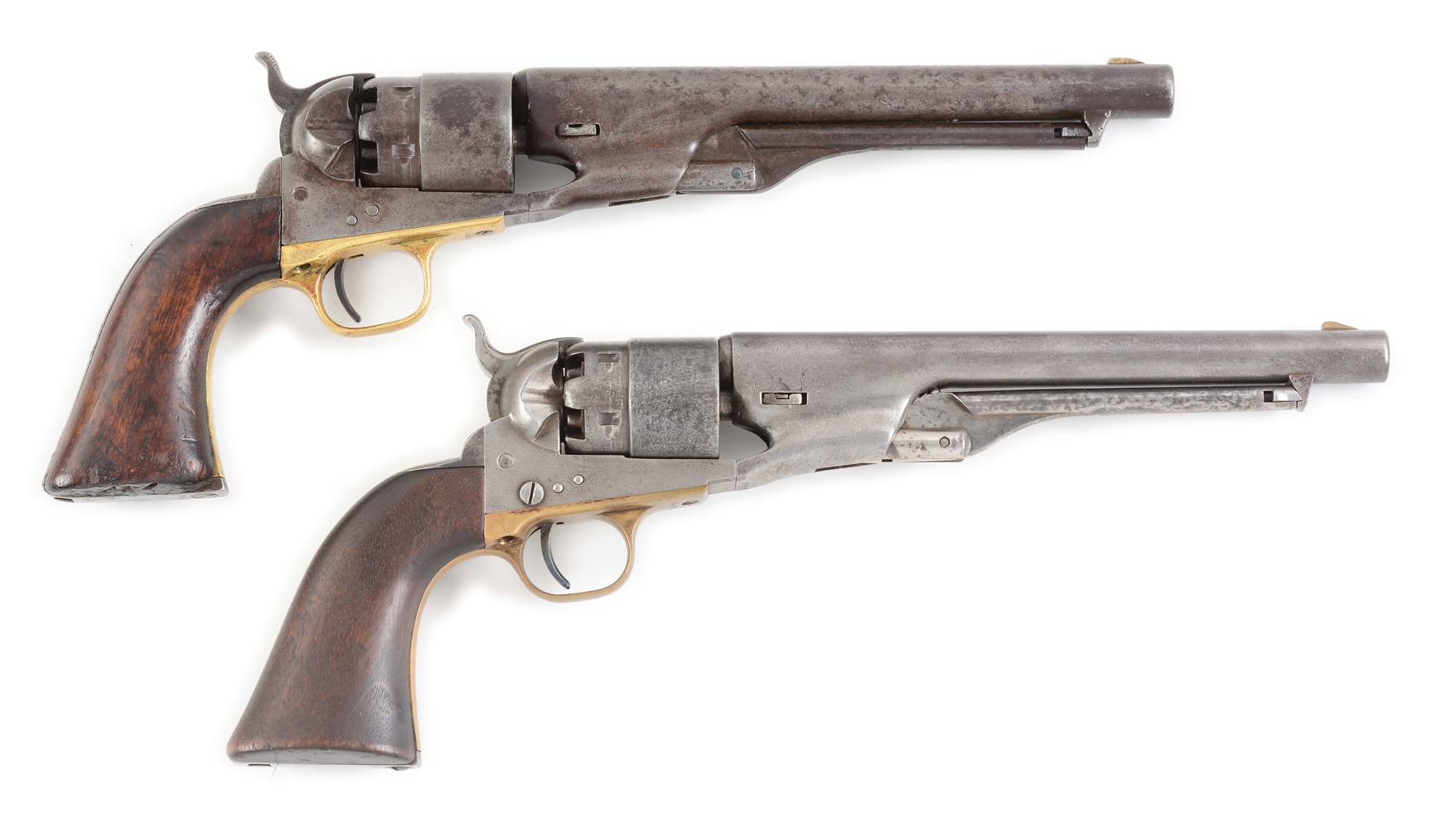 (A) LOT OF TWO: TWO COLT 1860 ARMY PERCUSSION REVOLVERS.