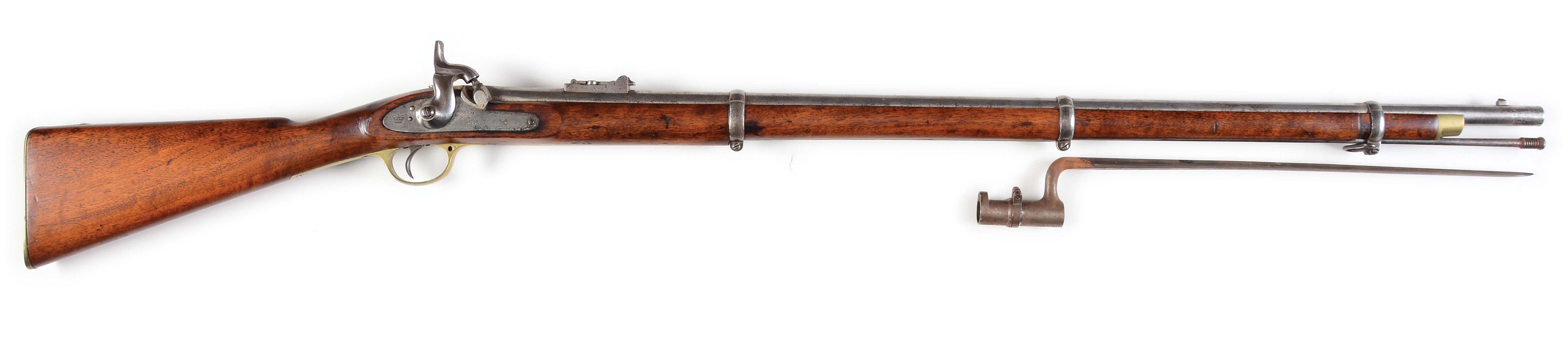 (A) CIVIL WAR LONDON ARMORY COMPANY .577 CALIBER PERCUSSION 1853 ENFIELD MUSKET, DATED 1862.