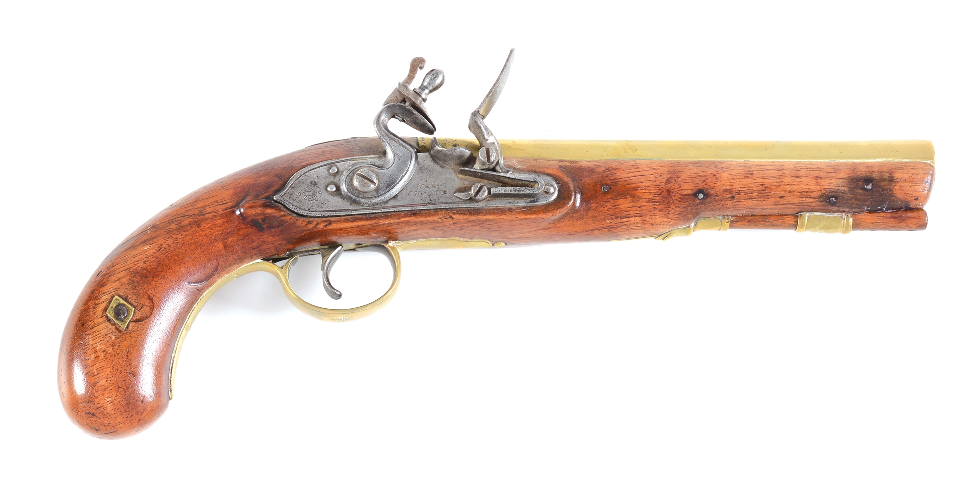 (A) W & G CHANCE BRITISH BRASS BARREL FLINTLOCK PISTOL.