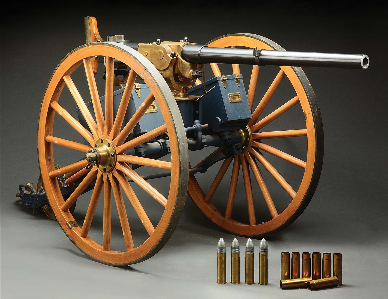 (D) MUSEUM LEVEL FANTASTIC CONDITION AMERICAN AND BRITISH MANUFACTURING COMPANY UNITED STATES NAVY MARK II 1 POUNDER CANNON ON ORIGINAL CARRIAGE (DESTRUCTIVE DEVICE).