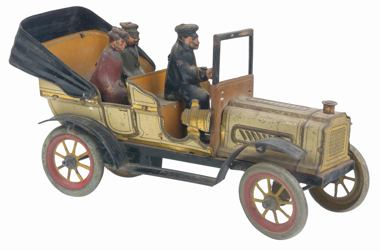 GERMAN TIN-LITHO WIND-UP OPEN TOURING CAR.