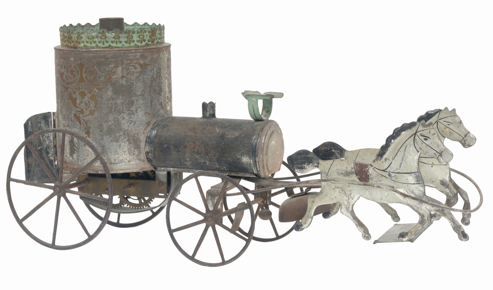 ATTRIBUTED TO ALTHOF BERGMAN VERY EARLY TIN CLOCKWORK HORSE DRAWN PUMPER.