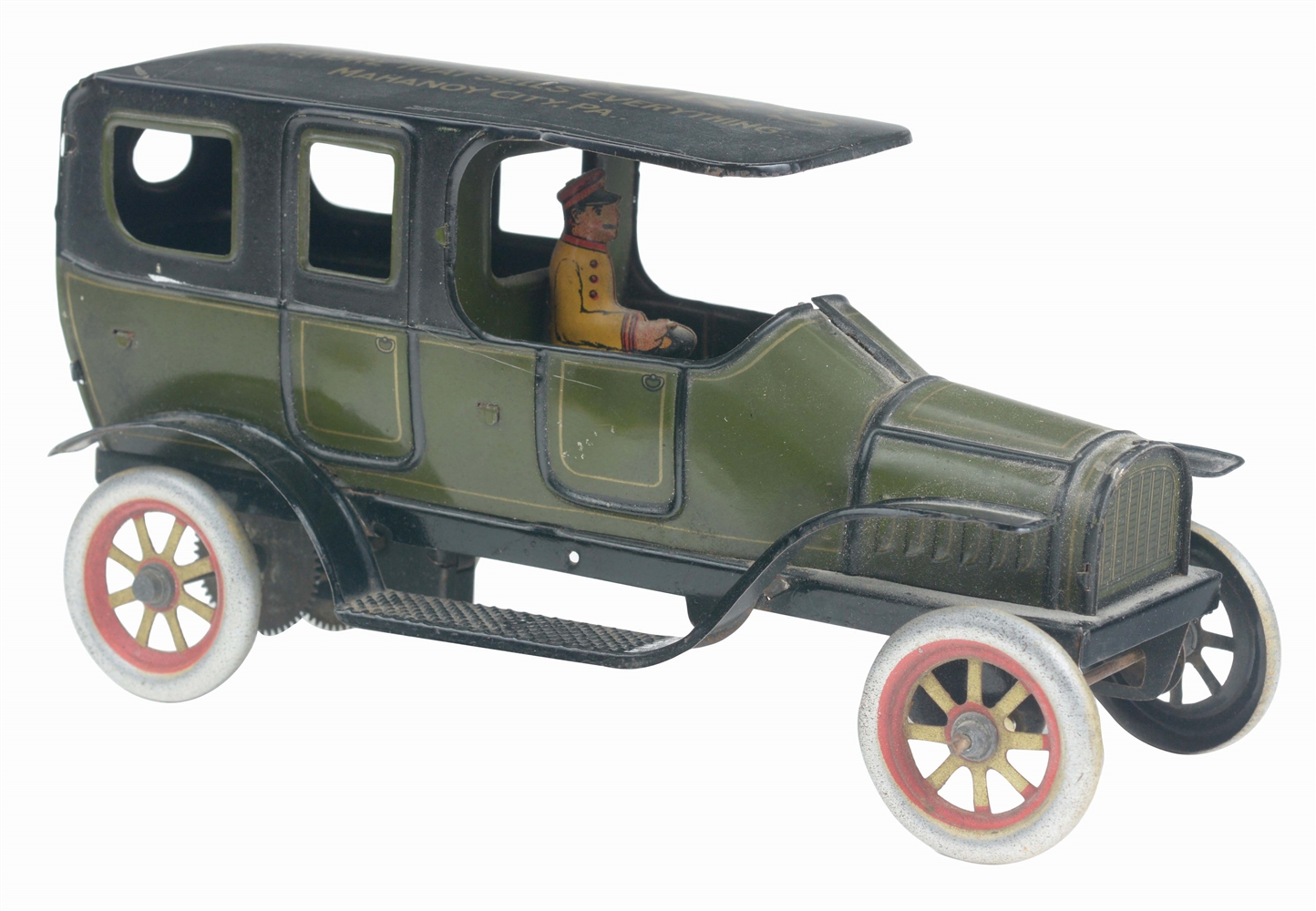 GERMAN TIN-LITHO WIND-UP ADVERTISING LIMOUSINE TOY.