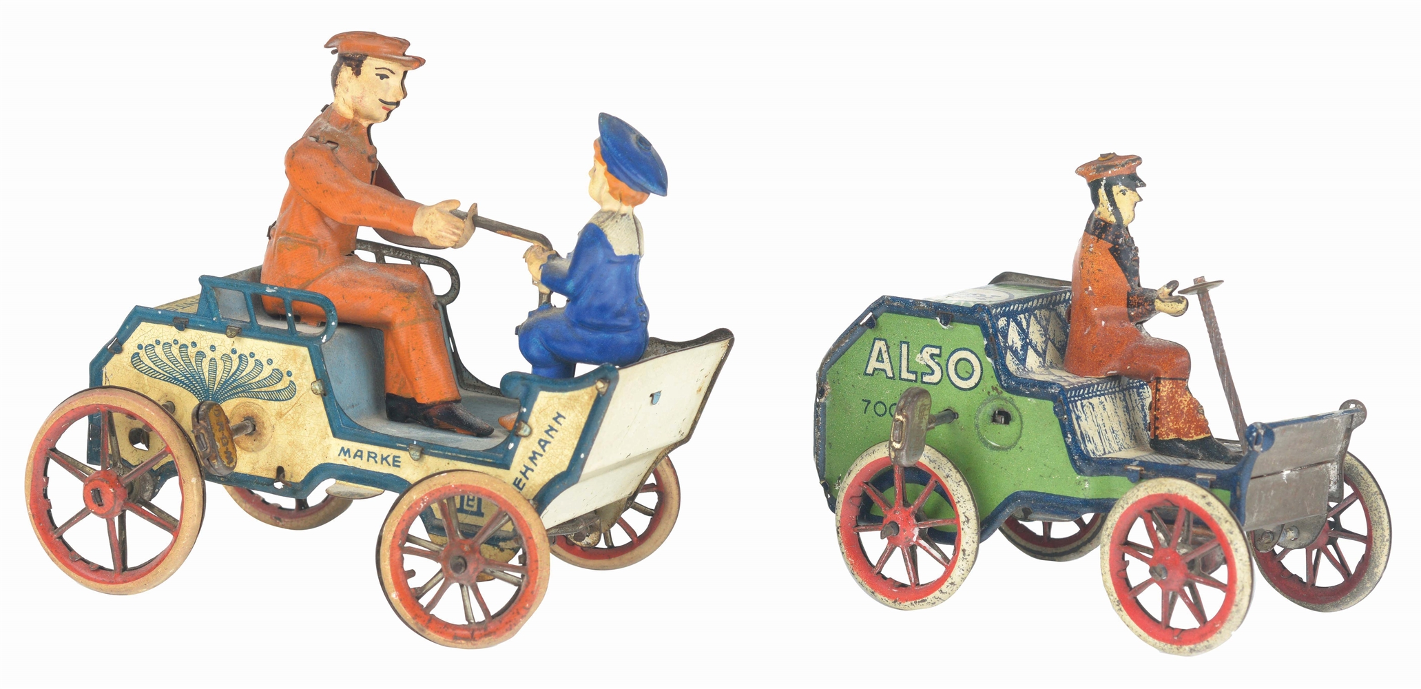 LOT OF 2: GERMAN LEHMANN TIN-LITHO WIND-UP AUTOMOBILE TOYS.