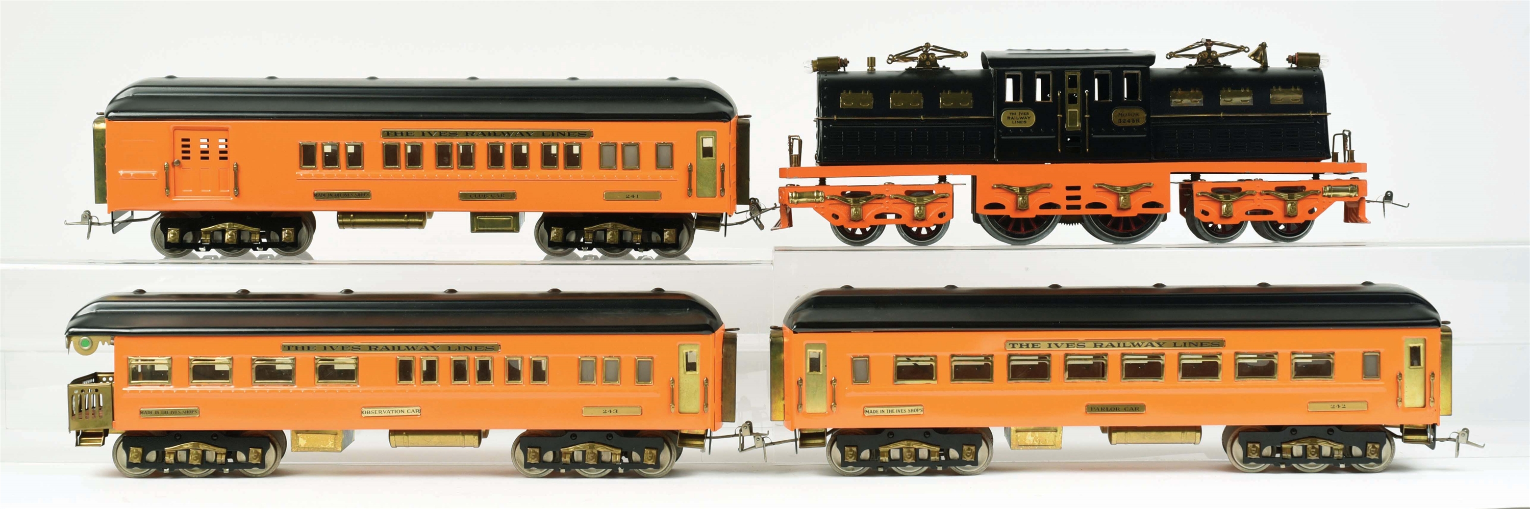 CONTEMPORARY IVES REPRODUCTION OLYMPIAN PASSENGER TRAIN SET.