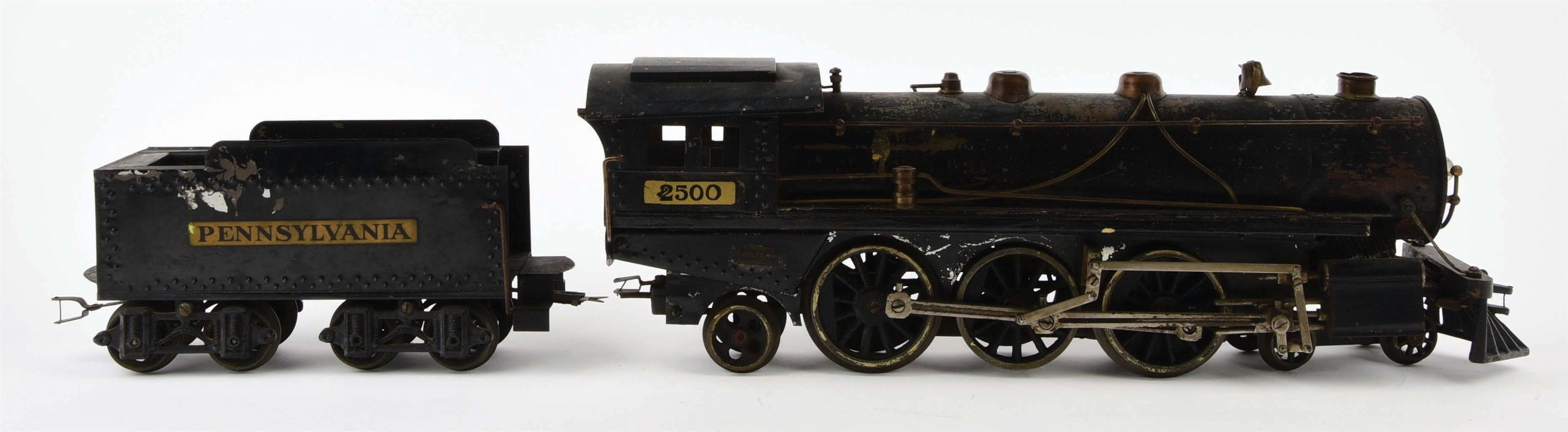 PRE-WAR VOLTAMP LARGE 2500 STEAM ENGINE AND MATCHING PENNSYLVANIA TENDER.