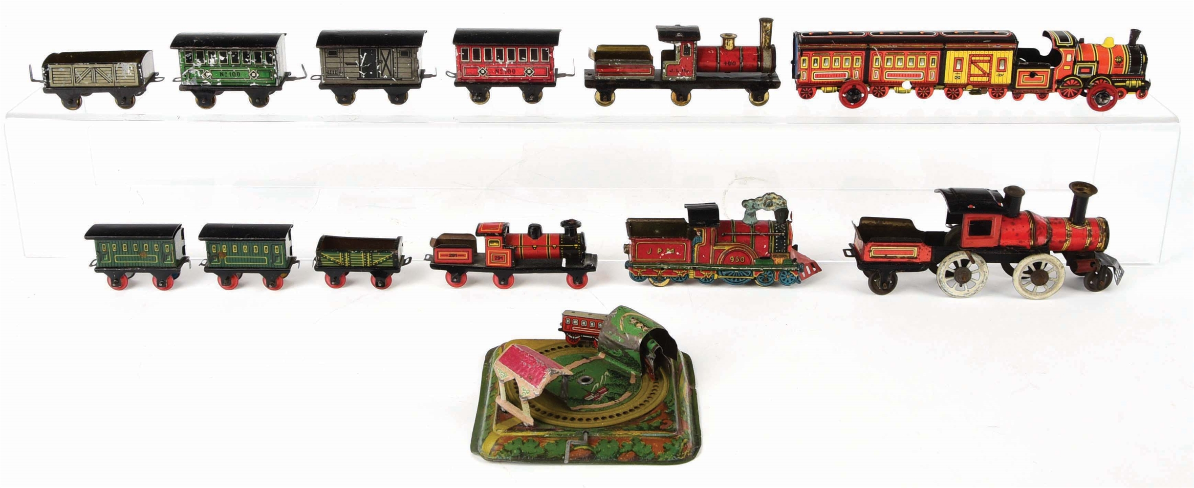 LOT OF EARLY GERMAN TIN-LITHO PENNY AND NICKEL TOY TRAINS.