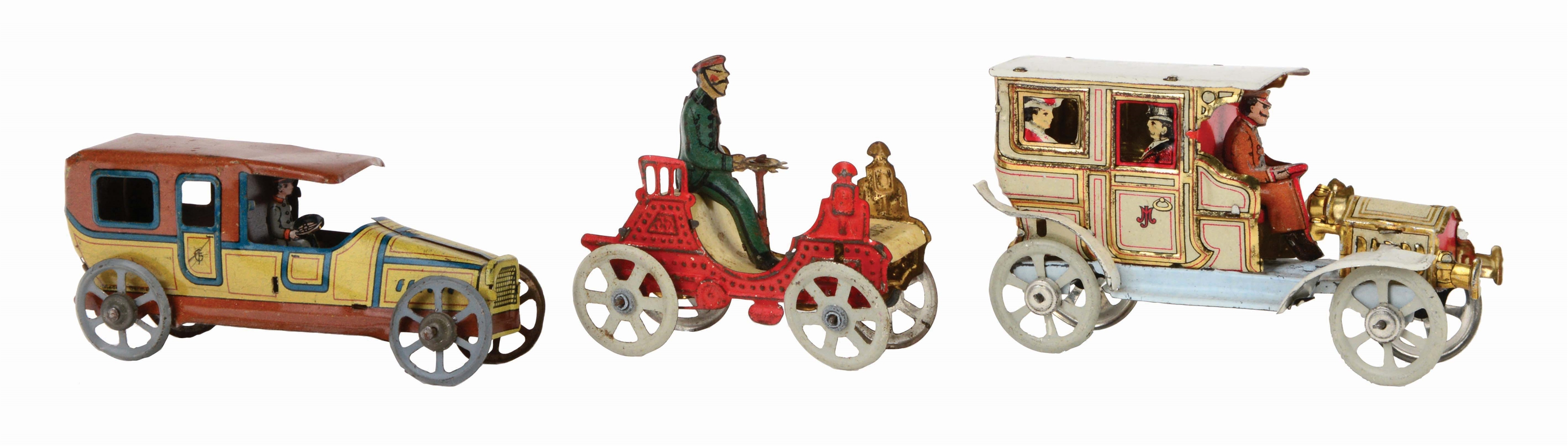 LOT OF 3: EXCEPTIONALLY NICE LOT OF GERMAN TIN-LITHO PENNY TOY AUTOS.
