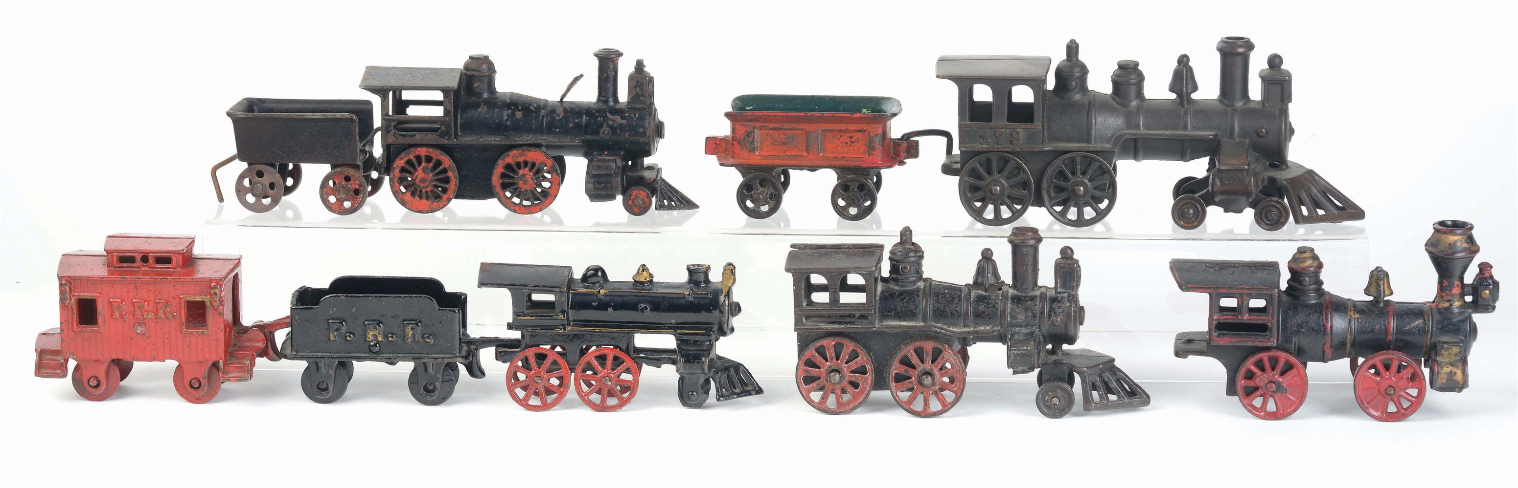 LOT OF 9: AMERICAN MADE CAST-IRON TRAIN ITEMS.