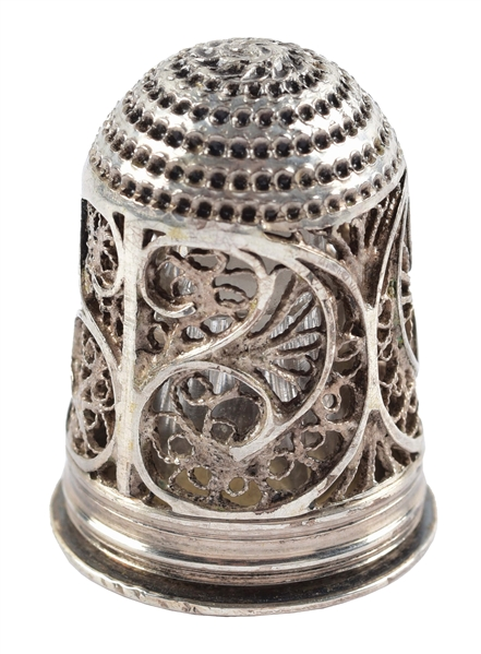RARE 18TH CENTURY FILIGREE THIMBLE AND SCENT BOTTLE.
