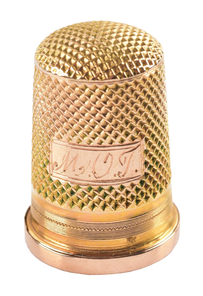 RARE 14K YELLOW GOLD THIMBLE AND SCENT BOTTLE.