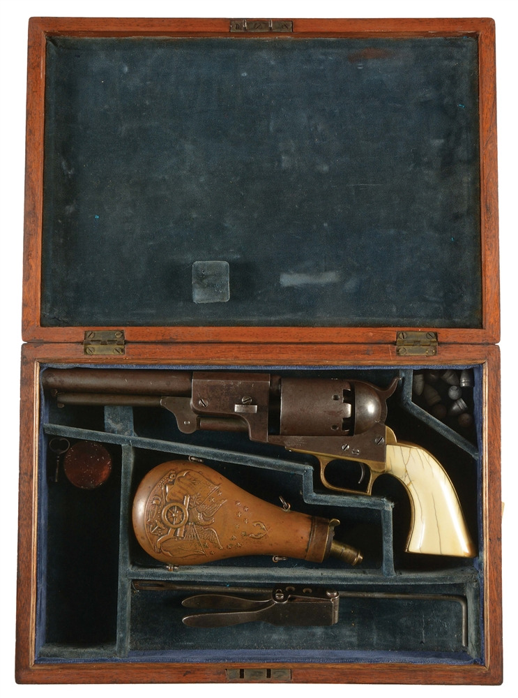 (A) COLT FIRST MODEL DRAGOON PERCUSSION REVOLVER WITH CASE.