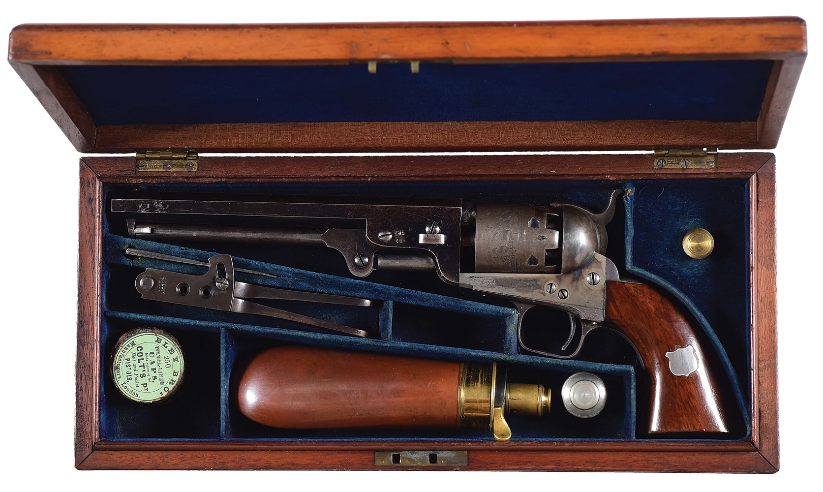 (A) CASED LONDON COLT 1851 NAVY PERCUSSION PISTOL.