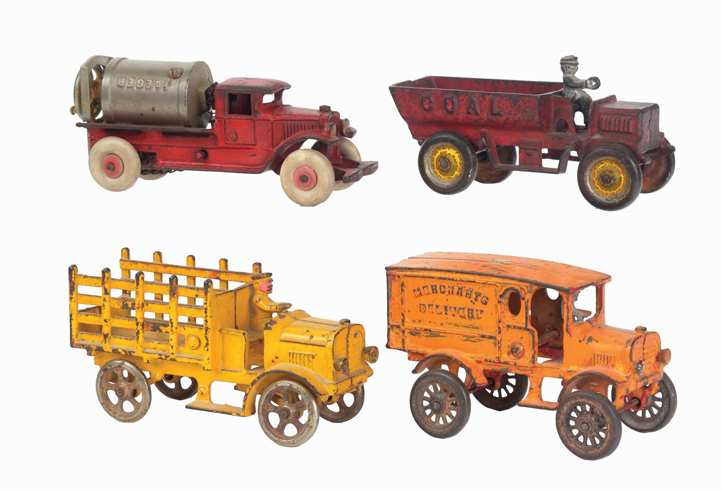 LOT OF 4: AMERICAN MADE CASE-IRON VEHICLE TOYS, MOSTLY KENTON.