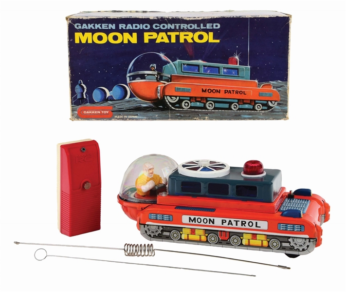 JAPANESE GAKKEN RADIO REMOTE-CONTROLLED BATTERY-OPERATED TIN-LITHO MOON PATROL TOY.