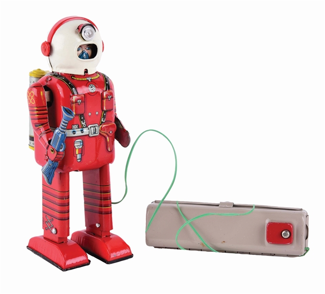 JAPANESE TIN-LITHO BATTERY-OPERATED REMOTE CONTROL SPACEMAN.