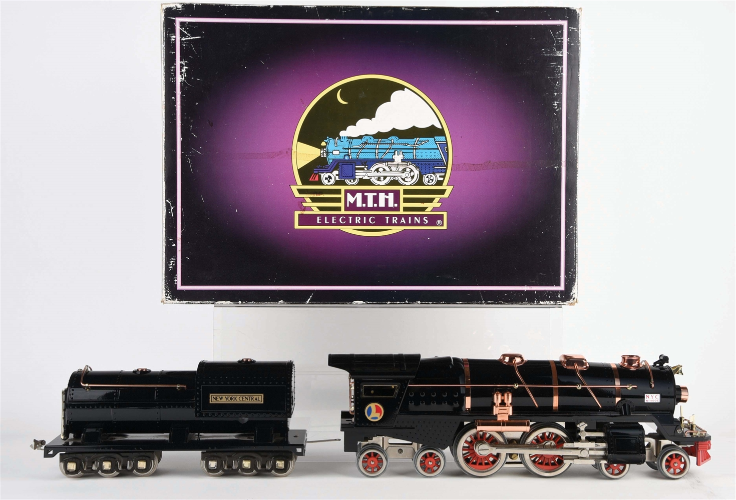 CONTEMPORARY MTH LIONEL STANDARD GAUGE 400E LOCOMOTIVE AND TENDER.