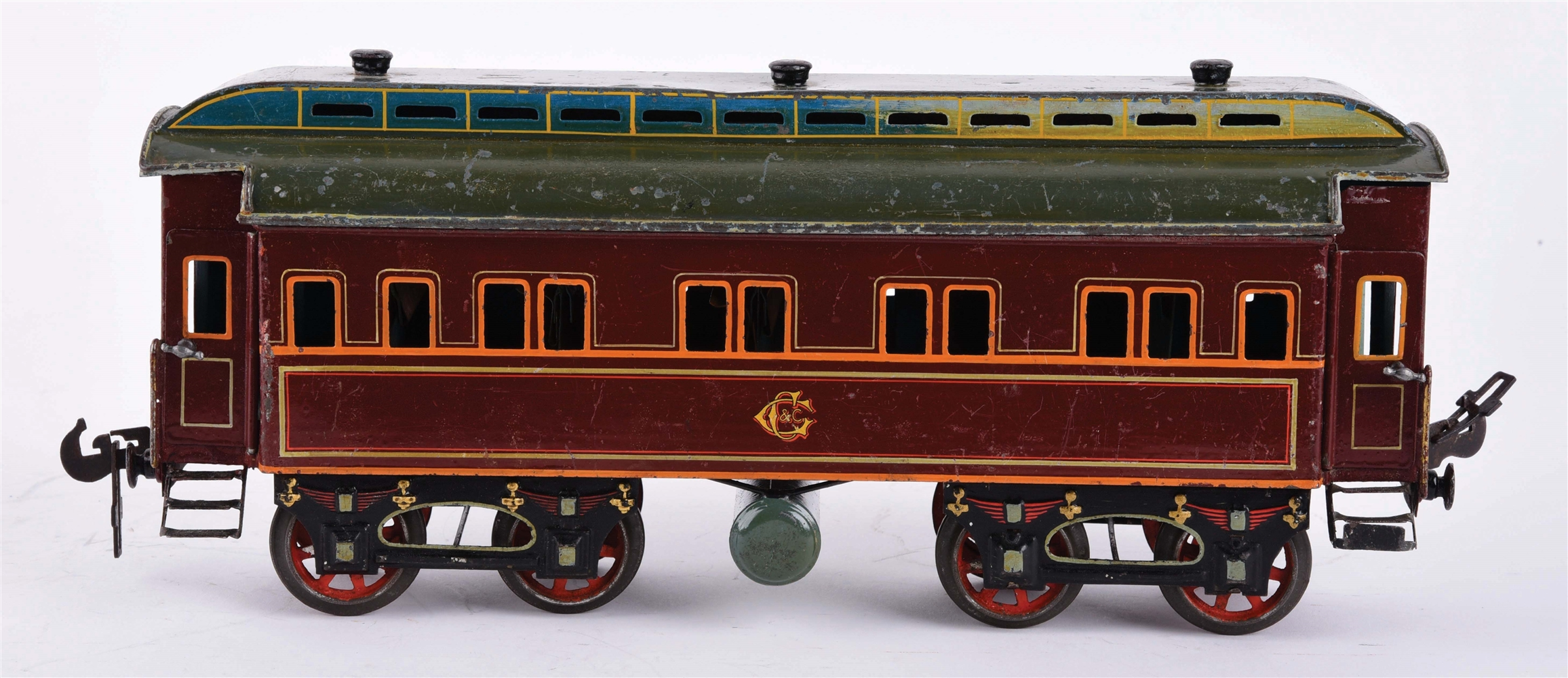 GERMAN HAND-PAINTED AND LITHOGRAPHIED SCARCE CARETTE 2 GAUGE PASSENGER CAR.