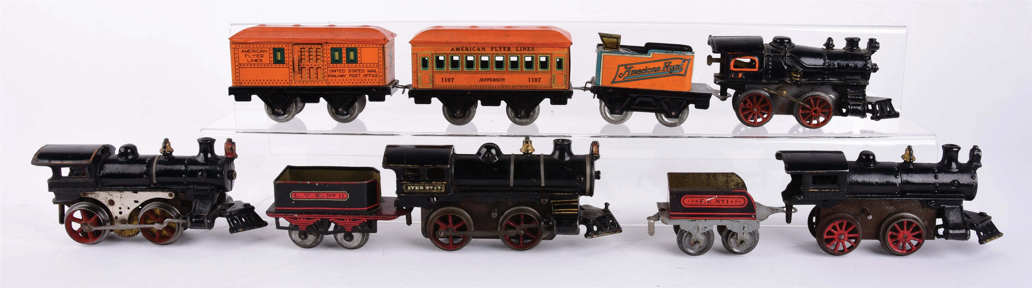 NICE EARLY IVES AND AMERICAN FLYER O GAUGE TRAIN LOT.