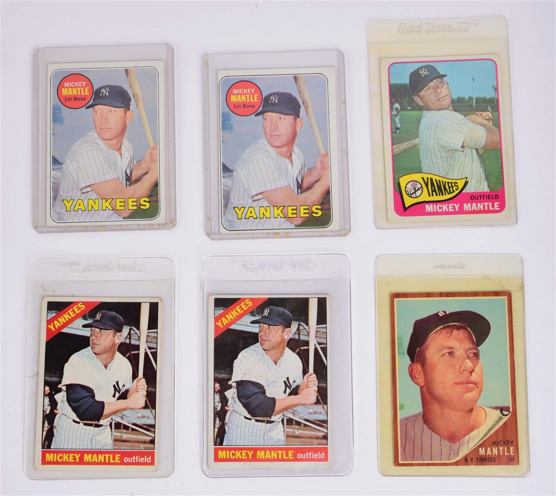 LOT OF 6: 1960S TOPPS MICKEY MANTLE CARDS.
