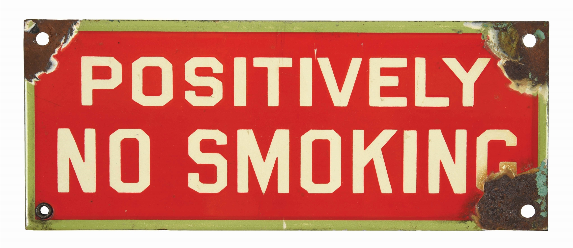RARE ASSOCIATED GASOLINE POSITIVELY NO SMOKING PORCELAIN SERVICE STATION SIGN.