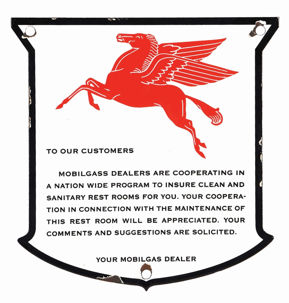 MOBILGAS PORCELAIN RESTROOM SHIELD SIGN W/ PEGASUS GRAPHIC.