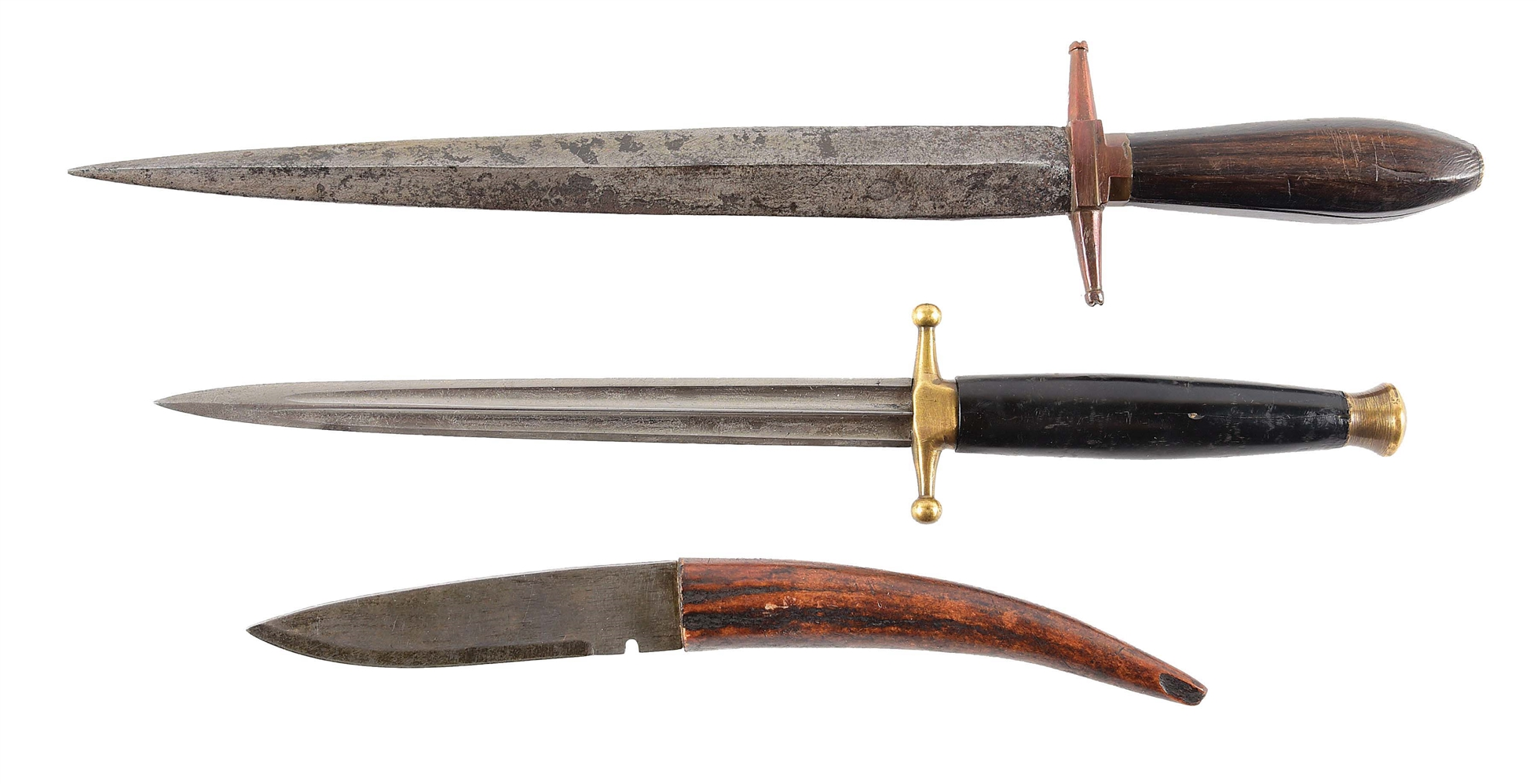 LOT OF 3: DIRKS AND KNIVES IN THE 18TH CENTURY STYLE.