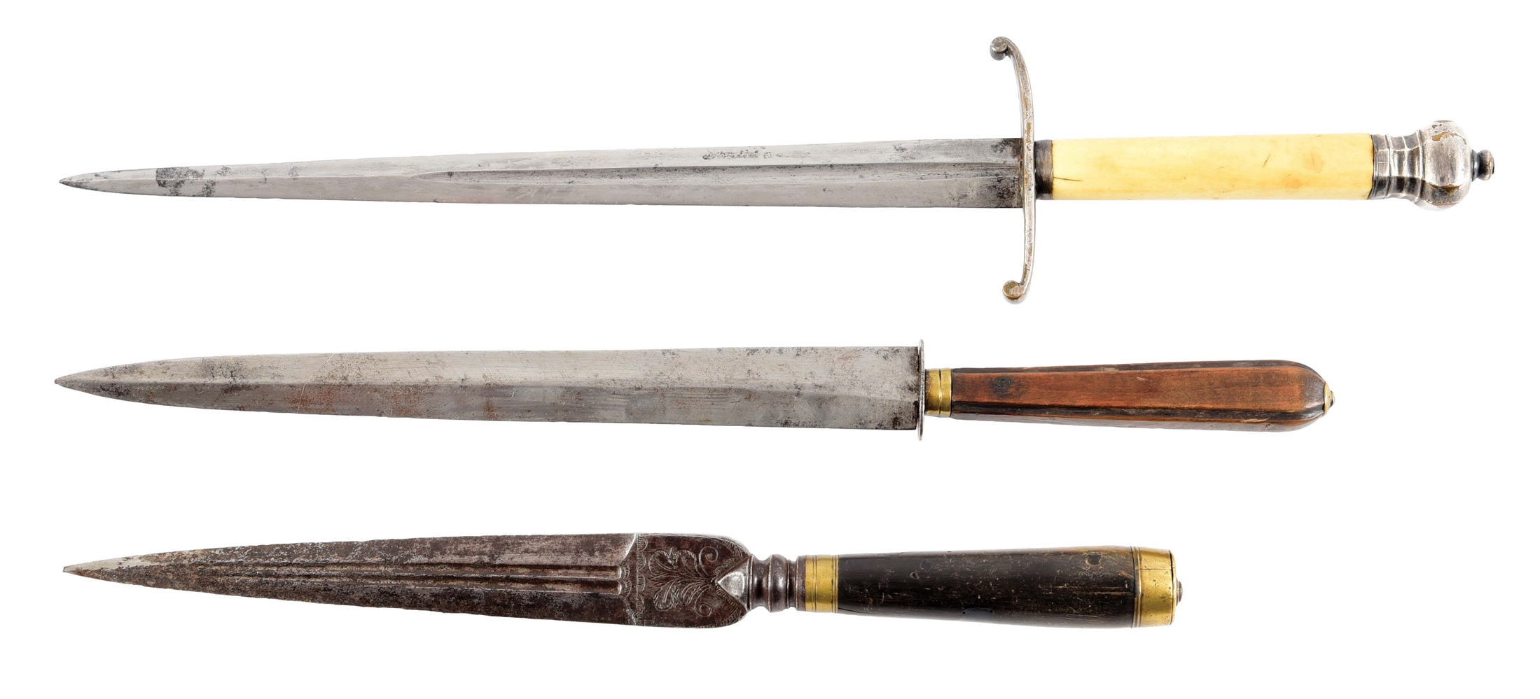 LOT OF 3: 18TH CENTURY DIRKS OR DAGGERS.
