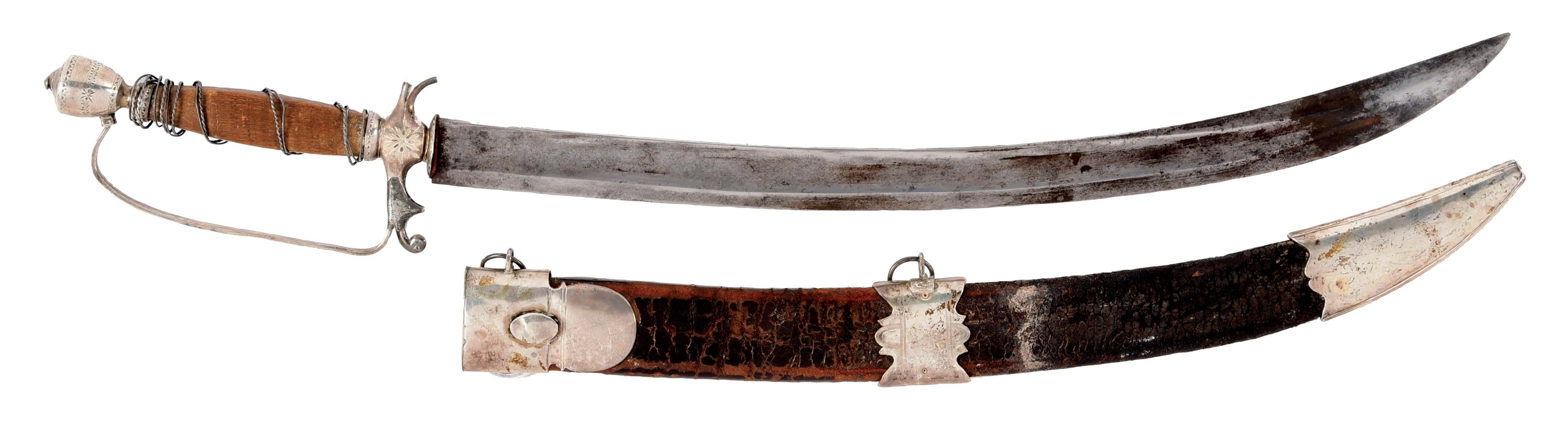 SILVER MOUNTED DIRK WITH SCABBARD.