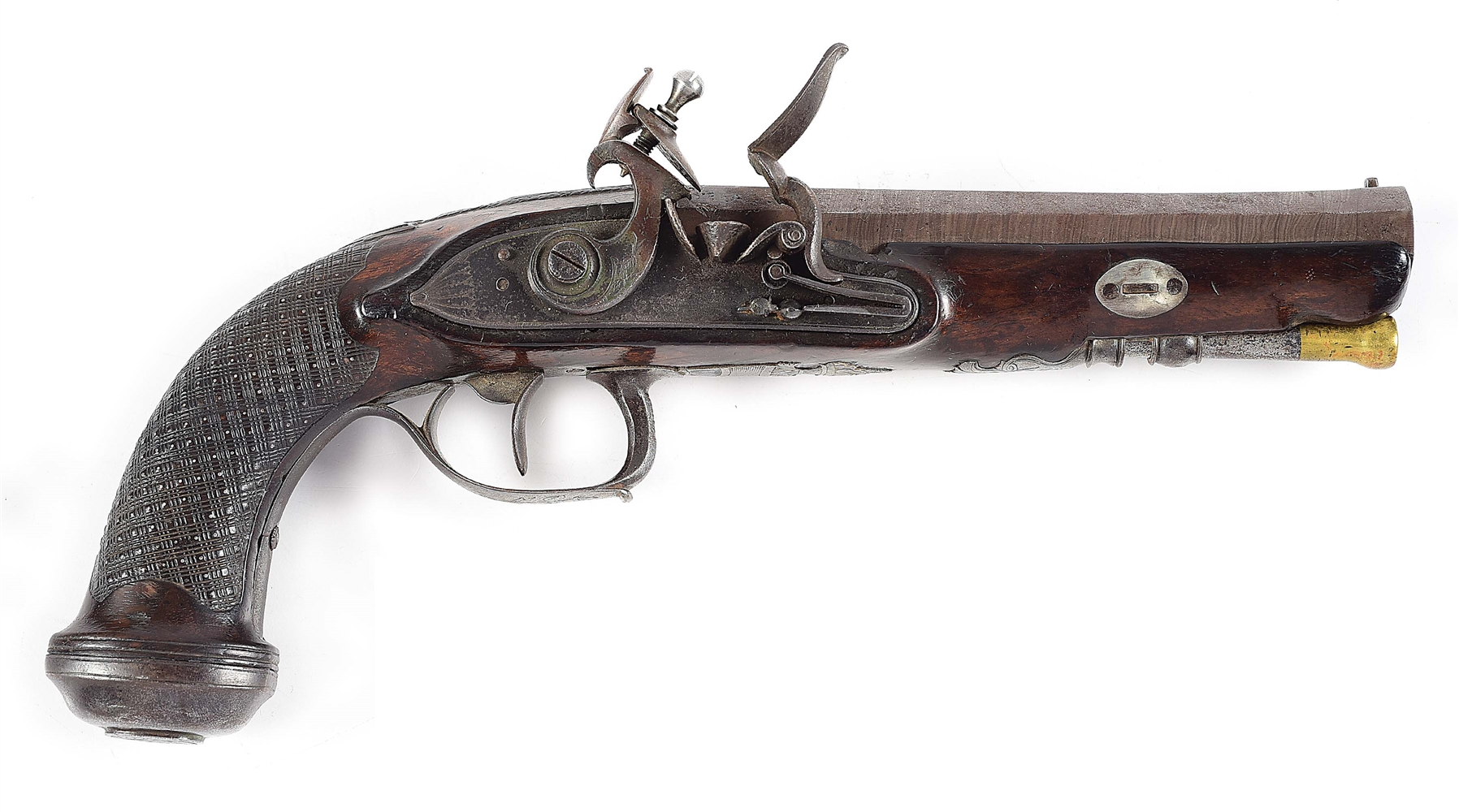 (A) CONTINENTAL, LIKELY BELGIAN, .72 CALIBER FLINTLOCK PISTOL.