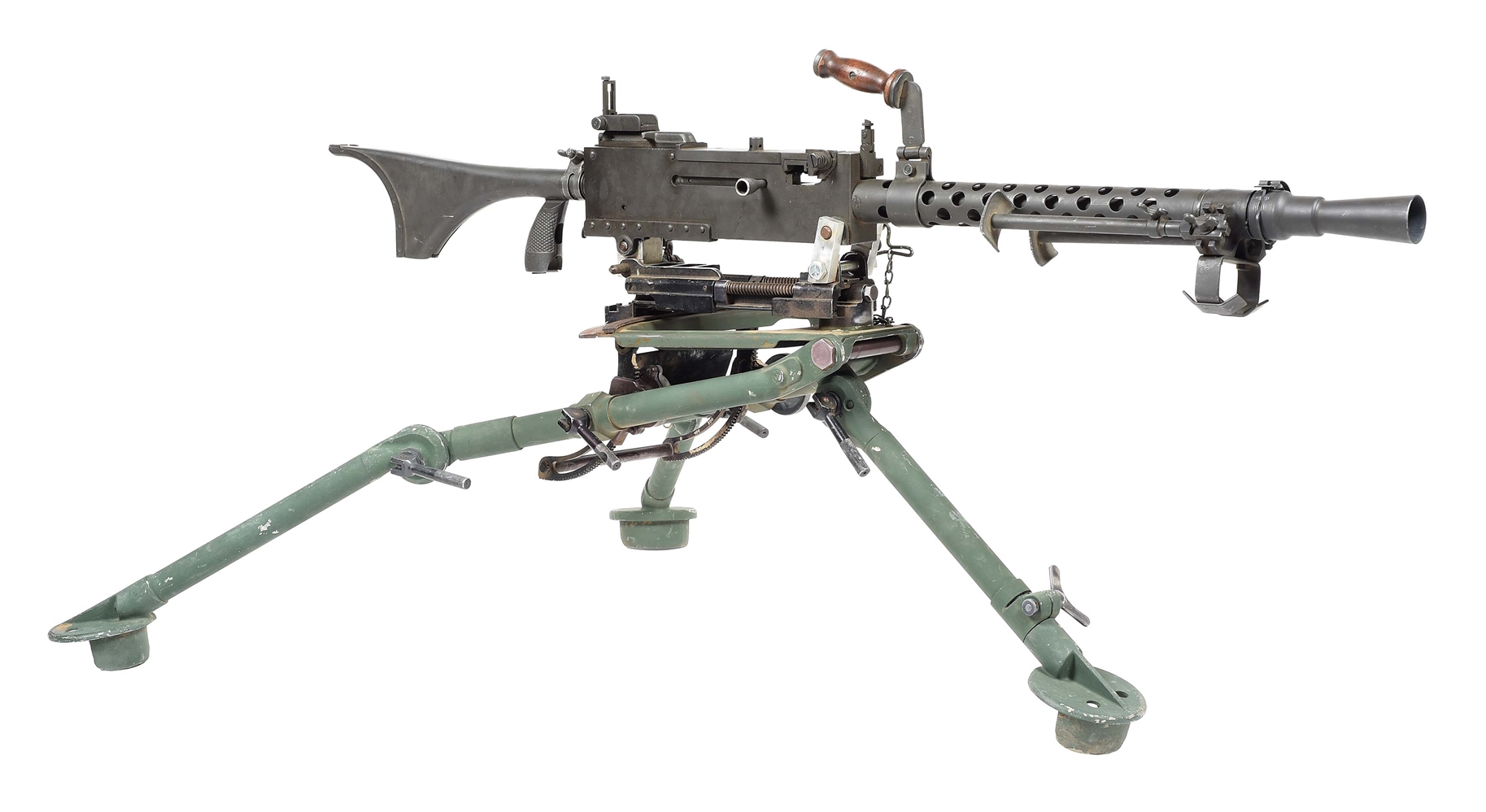"(N) HIGHLY DESIRABLE RAMO REGISTERED SIDEPLATE BROWNING MODEL 1919A6 MACHINE GUN ON ADAPTED LIGHTWEIGHT ""SOFTMOUNT"" TRIPOD (FULLY TRANSFERABLE)."