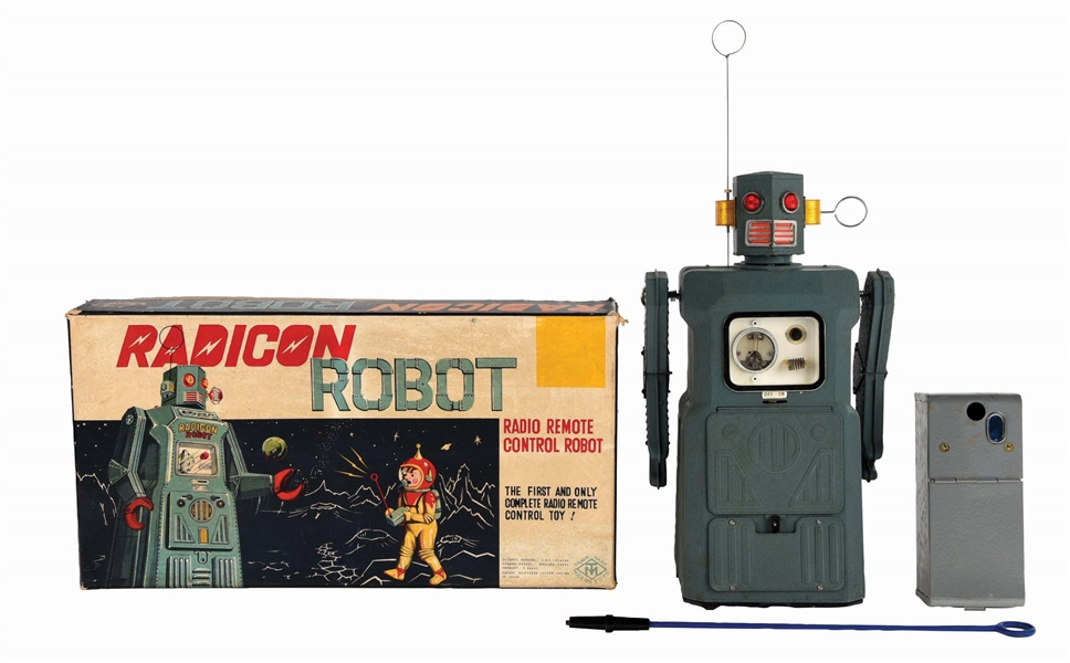 JAPANESE TIN BATTERY-OPERATED GANG OF 5 RADICON ROBOT IN ORIGINAL BOX.