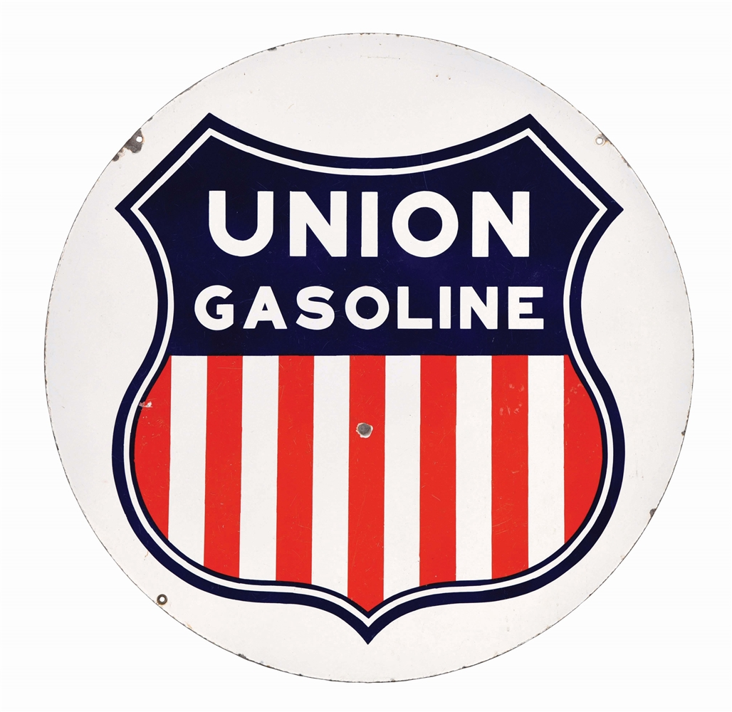 RARE UNION GASOLINE PORCELAIN SERVICE STATION SIGN W/ EARLY SHIELD GRAPHIC.