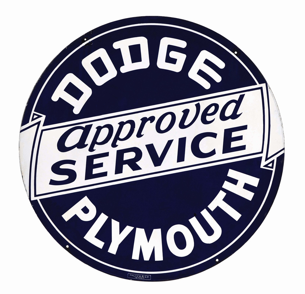 DODGE & PLYMOUTH APPROVED SERVICE PORCELAIN SIGN.