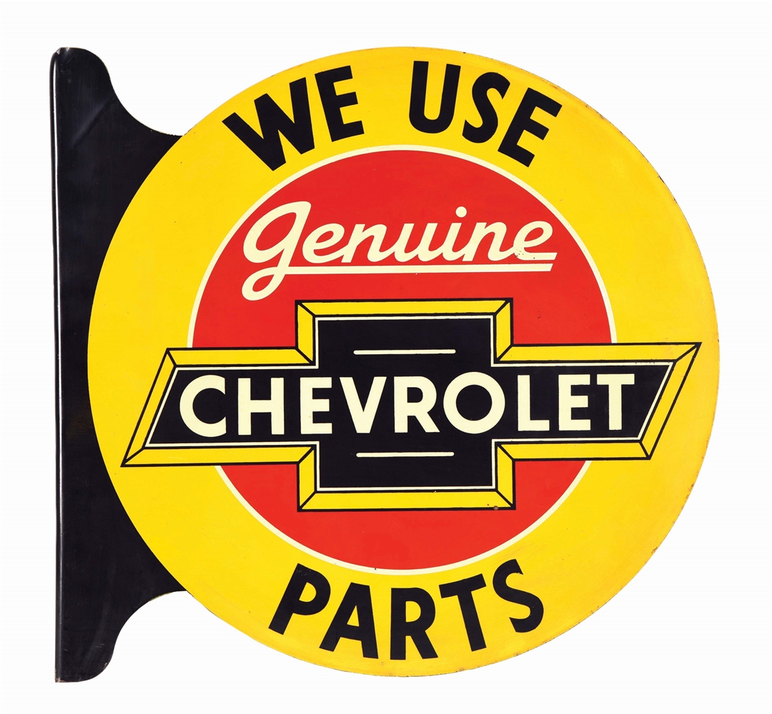 CHEVROLET GENUINE PARTS TIN FLANGE SIGN W/ BOW TIE GRAPHIC.