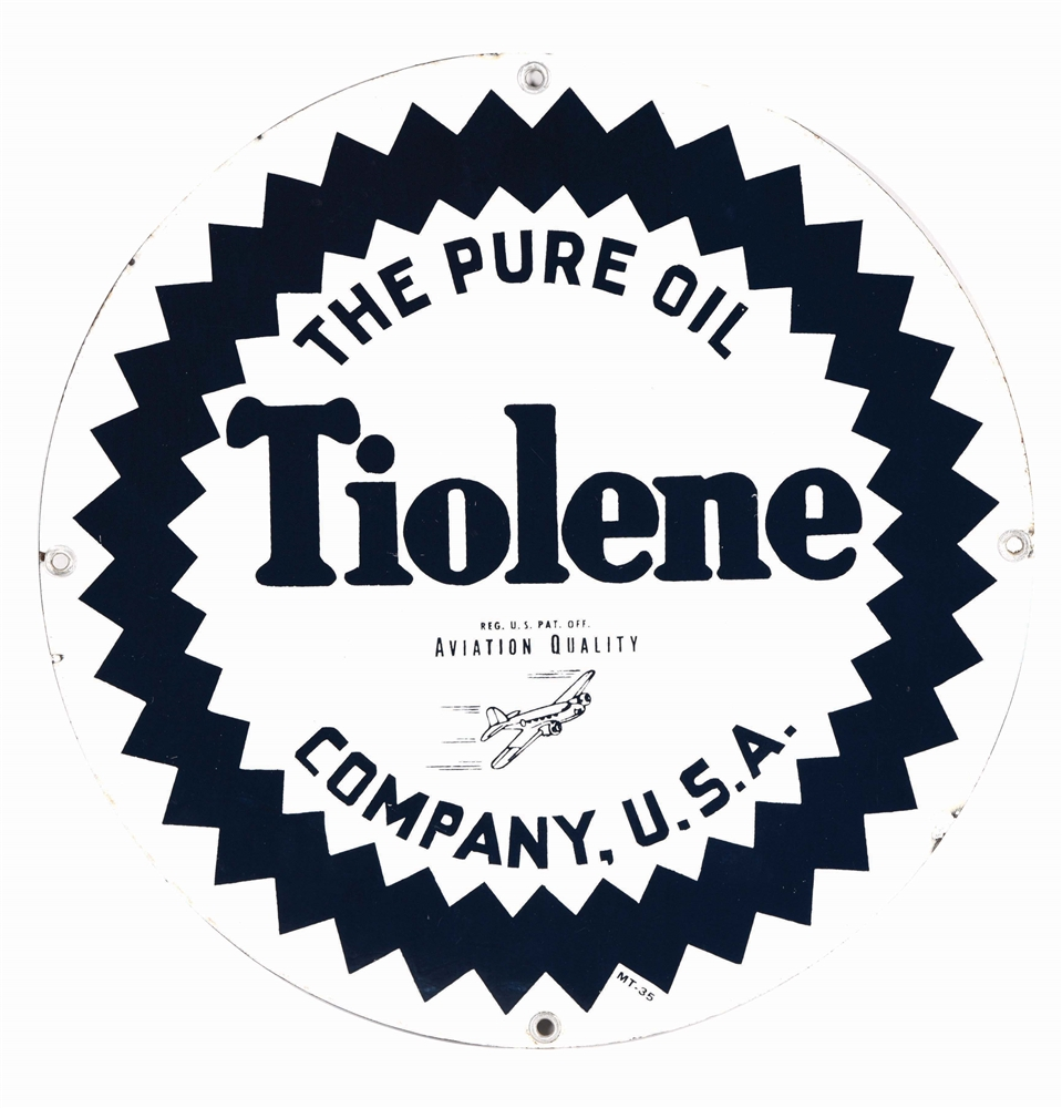 RARE TIOLENE AVIATION QUALITY GASOLINE PORCELAIN SIGN W/ AIRPLANE GRAPHIC.